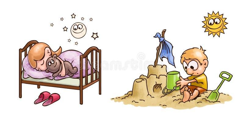 Dibujo de caricatura - niño jugando en la arena y chica durmiendo en la cama libre illustration