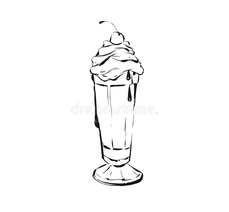 Dibujo de cocinar artístico del ejemplo del bosquejo de la tinta del extracto exhausto del vector de la mano del cóctel del batid libre illustration