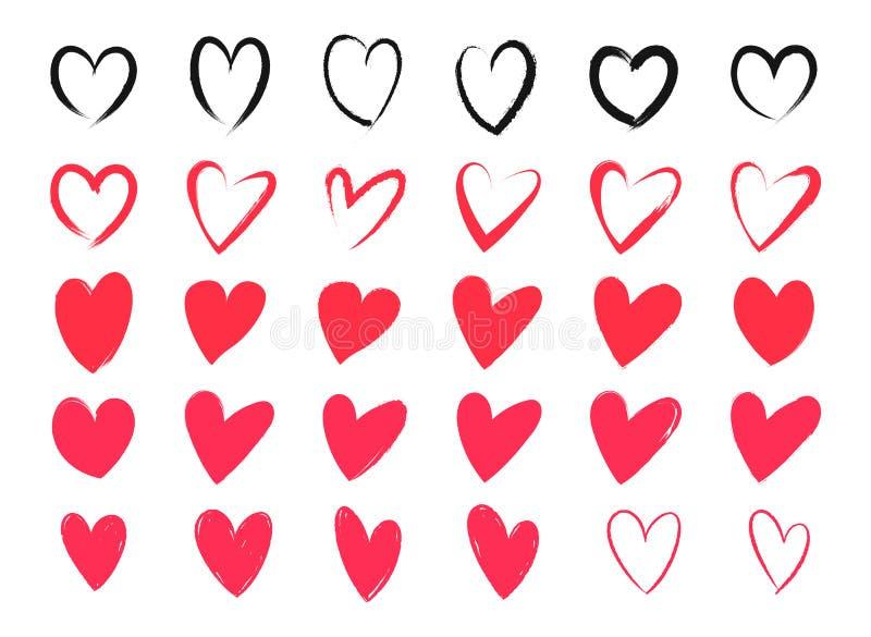 Dibujo de corazones Corazones con los movimientos, el cepillo o el marcador del lápiz Diversas formas del corazón para las tarjet libre illustration