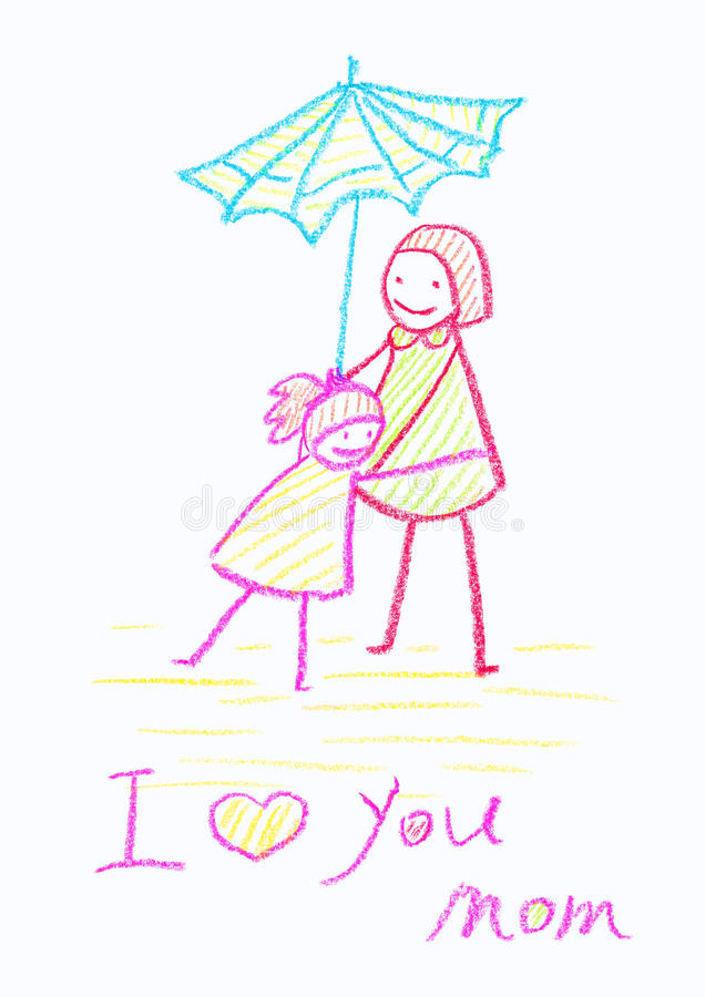 Dibujo de creyón de Childs de una tarjeta del día de madre stock de ilustración