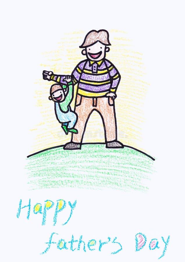 Dibujo de creyón de Childs de una tarjeta del día de padre ilustración del vector