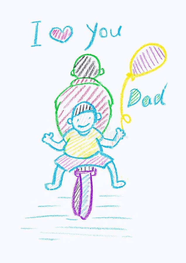 Dibujo de creyón de Childs de una tarjeta del día de padre stock de ilustración