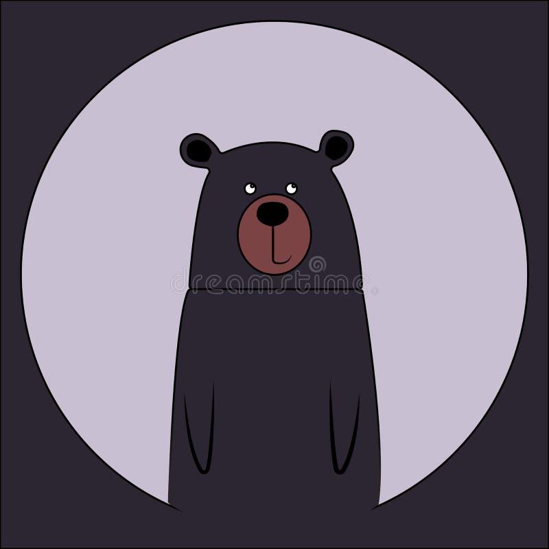 Dibujo de dibujos animados de oso sonriente. Icono de animal zoológico salvaje. Una mascota adorable y ligera. Fauna silvestre in stock de ilustración