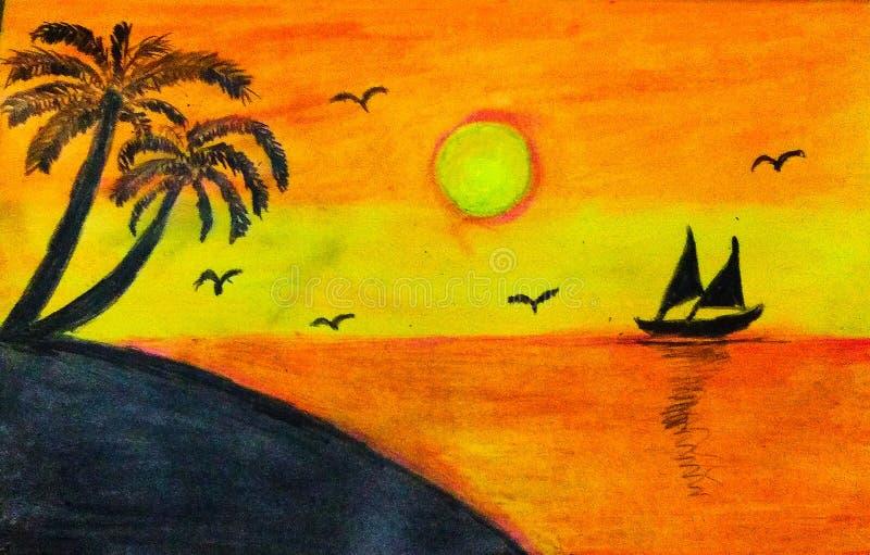 Dibujo de escena de la puesta de sol vibrante foto de archivo