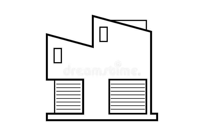 Dibujo de esquema abstracto, ejemplo moderno del vector del edificio de oficinas ilustración del vector