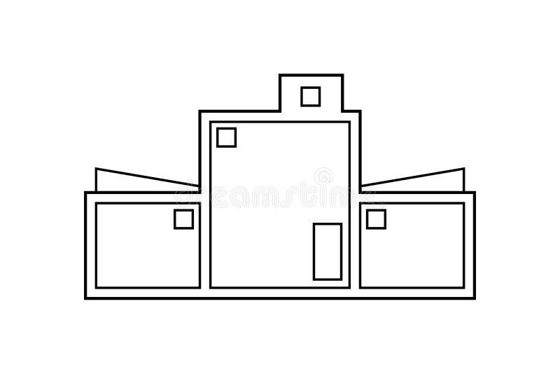 Dibujo de esquema abstracto, ejemplo moderno del vector de la construcción de viviendas stock de ilustración
