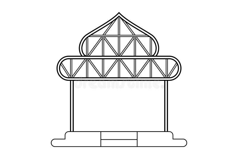Dibujo de esquema abstracto, estructura del marco del espacio del ejemplo del vector de la forma de la bóveda del almacén libre illustration