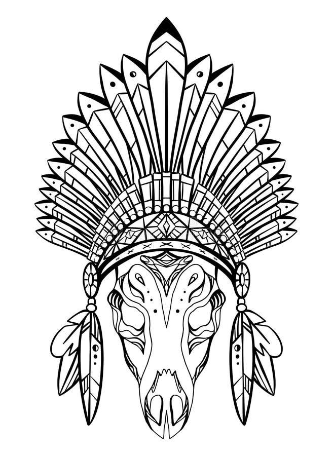 Dibujo de esquema del cr?neo de los ciervos con el casquillo nativo del indio con las plumas y las decoraciones Traje tribal stock de ilustración