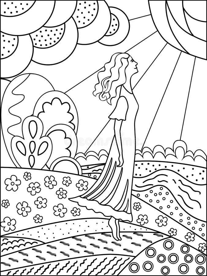 download dibujo de esquema simple para colorear mujer y naturaleza ilustracin del vector imagen