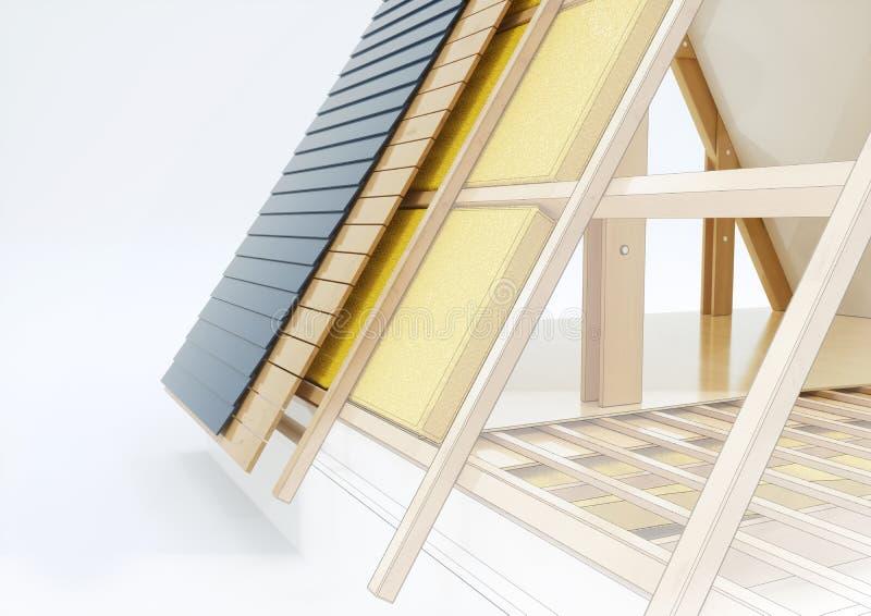 Dibujo de estudio de un tejado con los detalles técnicos - representación 3D fotos de archivo libres de regalías