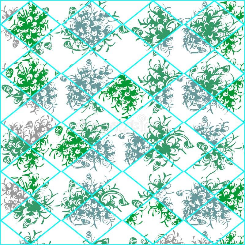 Dibujo de hojas verdes de plantas, textura floral fresca del vector ilustración del vector