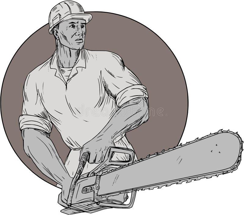 Dibujo de Holding Chainsaw Oval del arborista del leñador libre illustration