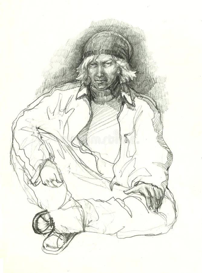 Dibujo de lápiz del gángster del hip-hop stock de ilustración