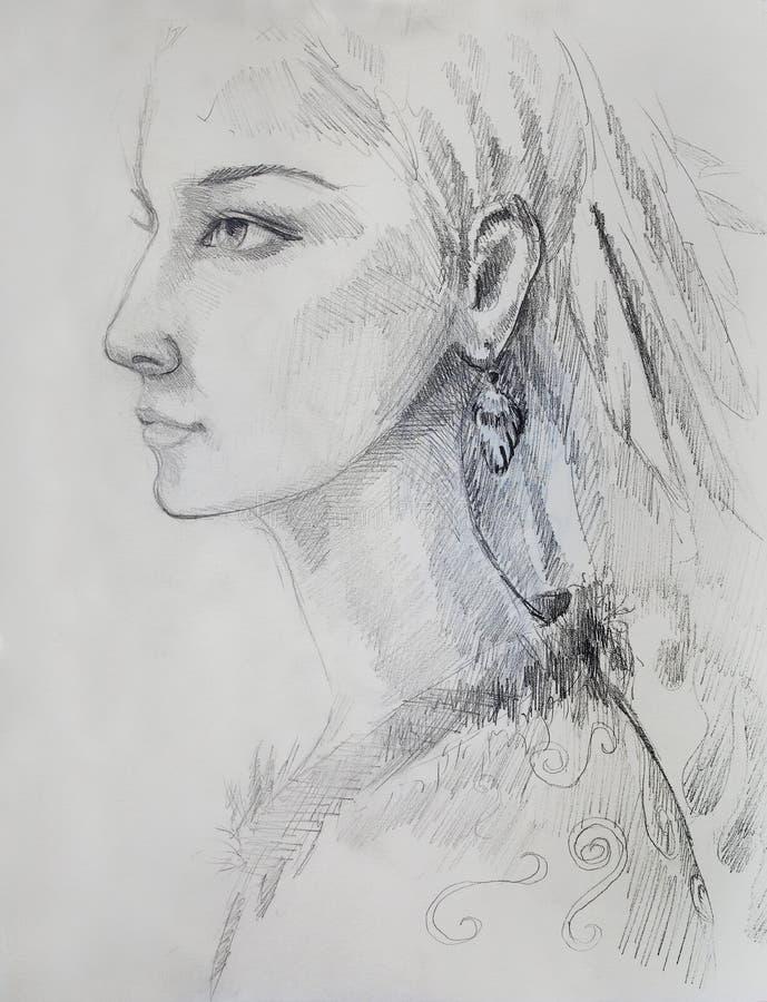 Dibujo de lápiz en el papel, la mujer india y plumas en pelo ilustración del vector
