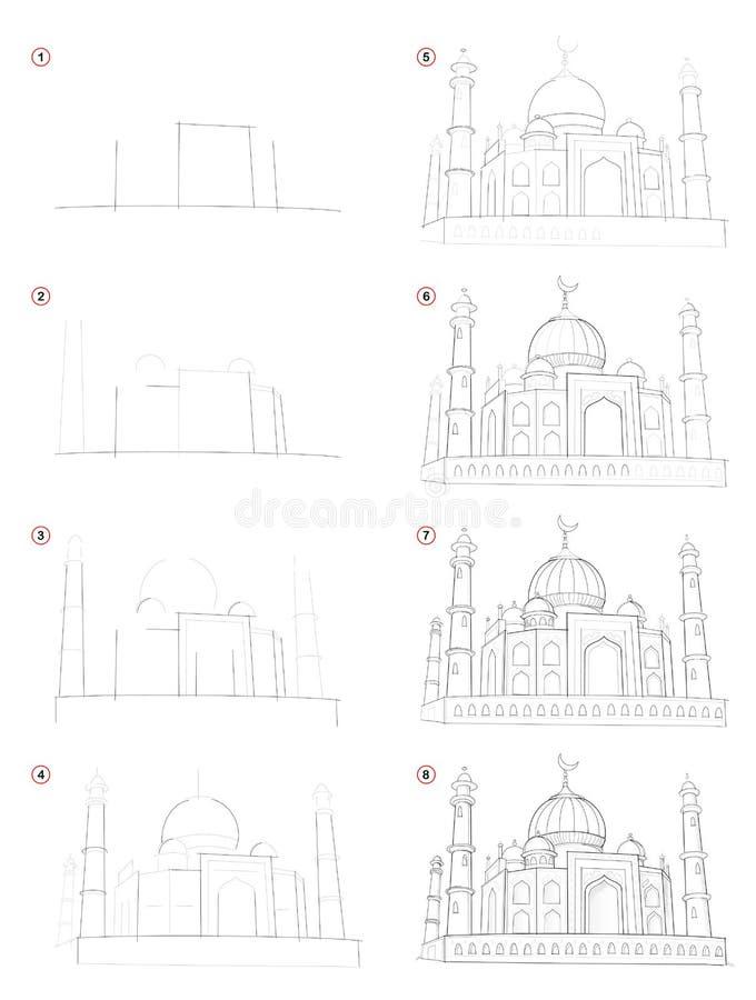 Dibujo de lápiz gradual de la creación Demostraciones de la página cómo aprenda dibujar el castillo del este asiático fantástico  stock de ilustración