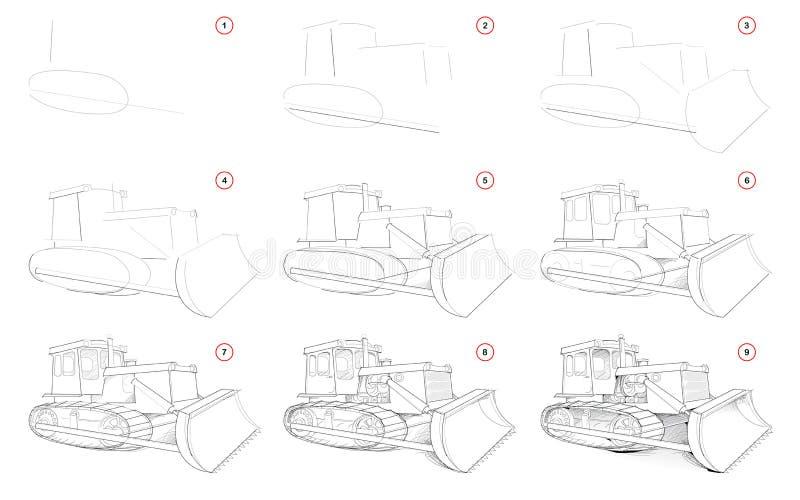 Dibujo de lápiz gradual de la creación La página muestra cómo aprender bosquejo del drenaje del tractor potente con la cuchilla p ilustración del vector