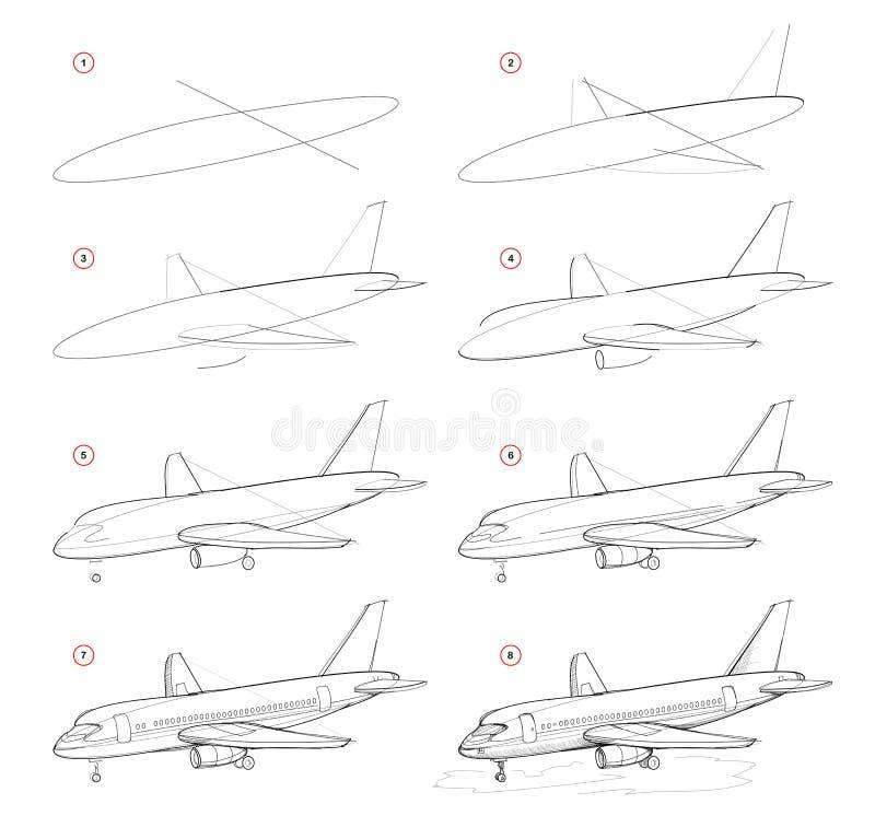 Dibujo de lápiz gradual de la creación La página muestra cómo aprender el bosquejo del drenaje de los aviones de pasajero moderno libre illustration