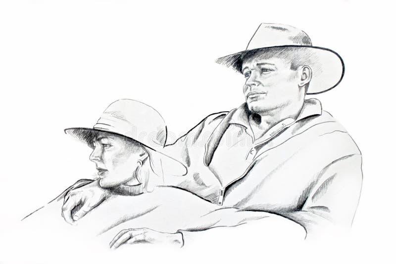Dibujo de lápiz joven de los pares libre illustration
