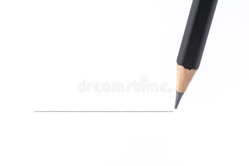 Dibujo de lápiz negro una línea recta, aislada en el backgrou blanco fotografía de archivo