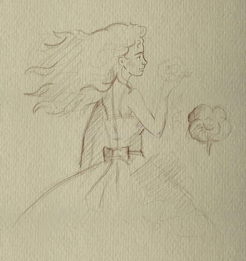 Dibujo de lápiz una muchacha fotos de archivo