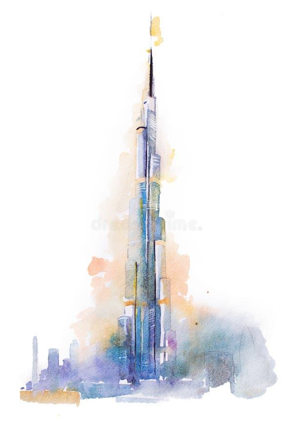 dibujo de la acuarela de la torre de burj khalifa en dubai