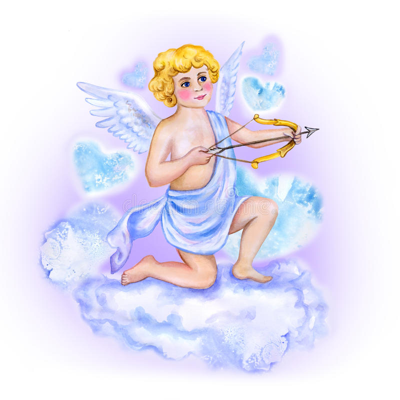 Dibujo de la acuarela del cupido, ángel del amor con las alas en el cielo Diseño de la tarjeta de felicitación del día de tarjeta libre illustration