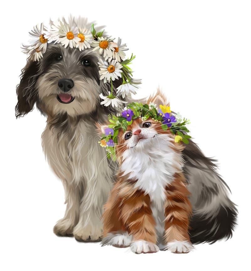 Dibujo de la acuarela del perrito, del gatito y de las flores stock de ilustración
