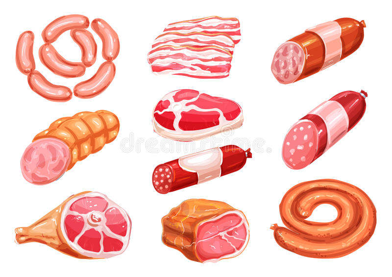 Dibujo de la acuarela del producto de carne fijado con la salchicha ilustración del vector