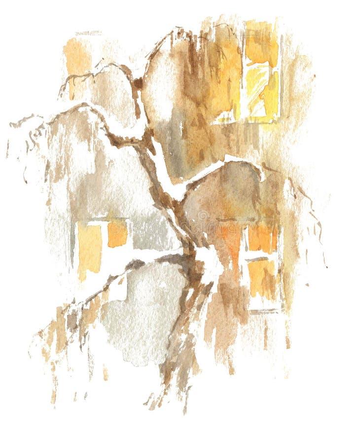 Dibujo de la acuarela, ejemplo Vista de las ventanas del edificio de apartamentos y del árbol debajo de la nieve Segunda edición stock de ilustración