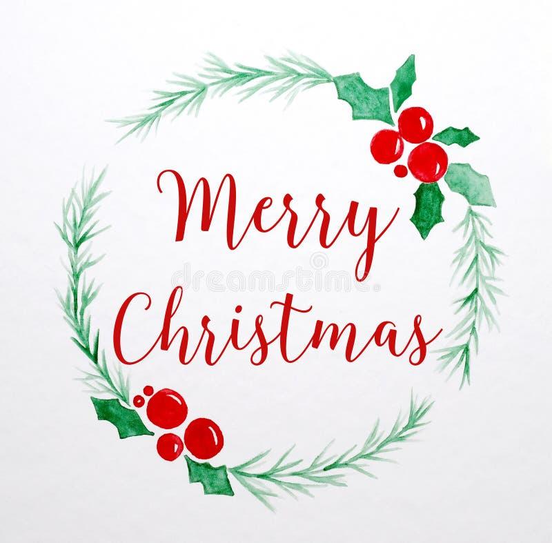Dibujo de la acuarela de la guirnalda de la Feliz Navidad en backgro del Libro Blanco stock de ilustración