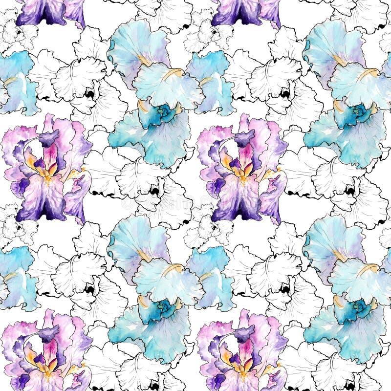 Dibujo de la acuarela de iris Modelo inconsútil stock de ilustración