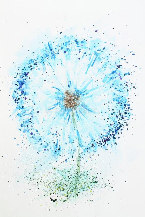 Dibujo de la acuarela y diente de león del fondo de la flor ilustración del vector