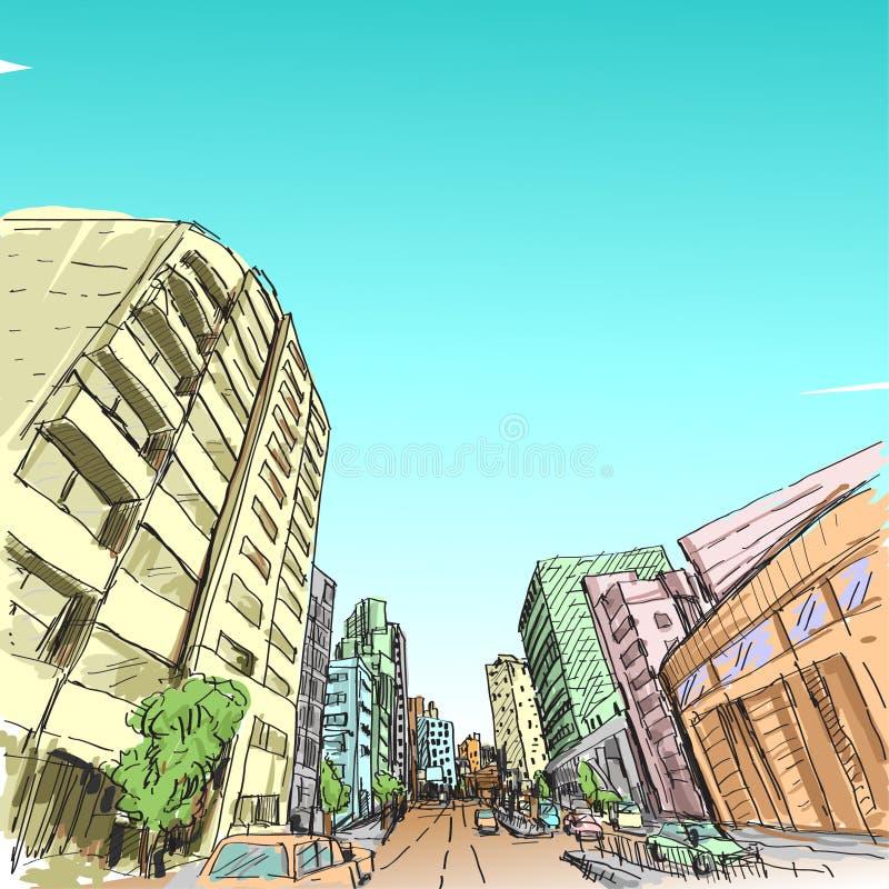 Dibujo de la carta blanca del scape de la ciudad, ciudad de Hanoi, ejemplo ilustración del vector