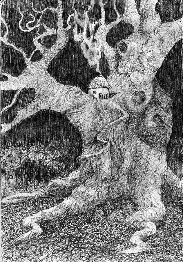 Dibujo de la casa del árbol del gnomo ilustración del vector