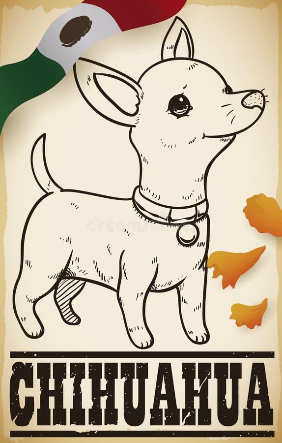 Dibujo de la chihuahua en una voluta con los pétalos y la bandera mexicana, ejemplo del vector ilustración del vector