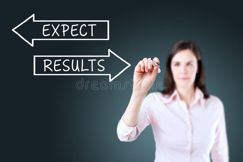 Dibujo de la empresaria concepto de los resultados y de las expectativas en la pantalla virtual Fondo para una tarjeta de la invi foto de archivo