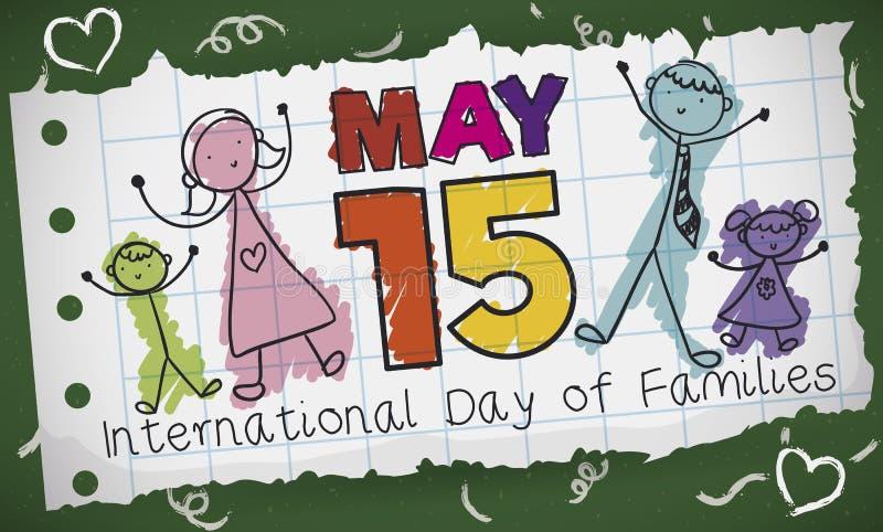 Dibujo de la familia en el estilo del garabato para celebrar el día de familias, ejemplo del vector stock de ilustración