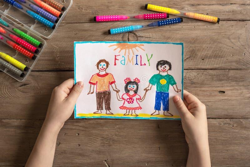 Dibujo de la familia de LGBT foto de archivo