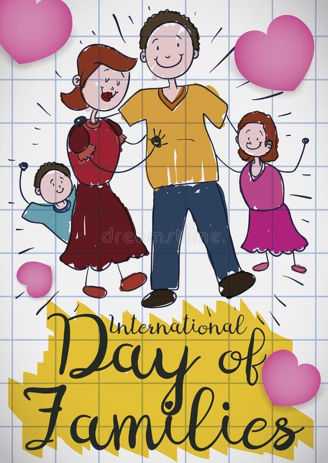 Dibujo de la familia y de los corazones felices para el día de familias, ejemplo del vector stock de ilustración