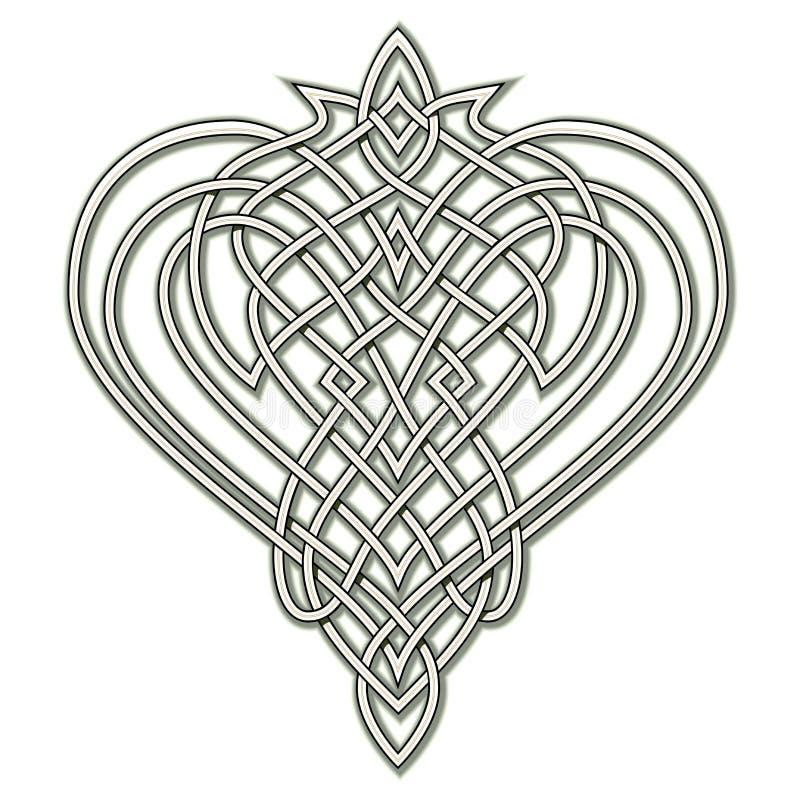 Dibujo de la fantasía del ornamento popular céltico con el modelo de nudo que entreteje, símbolo del corazón, logotipo Plantilla  stock de ilustración