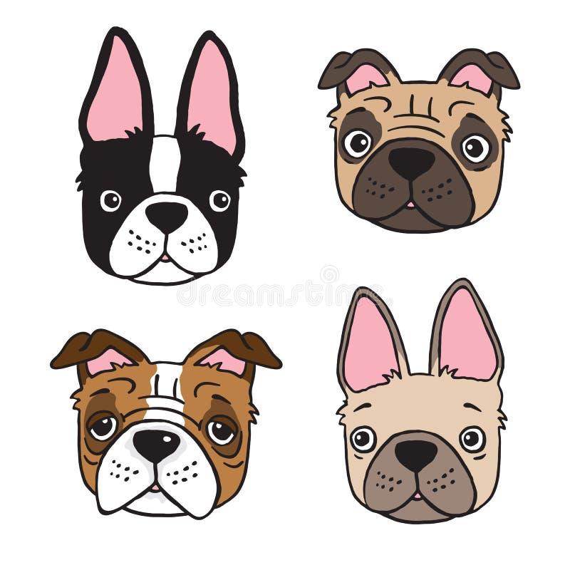 Dibujo de la historieta de cuatro caras del perro stock de ilustración