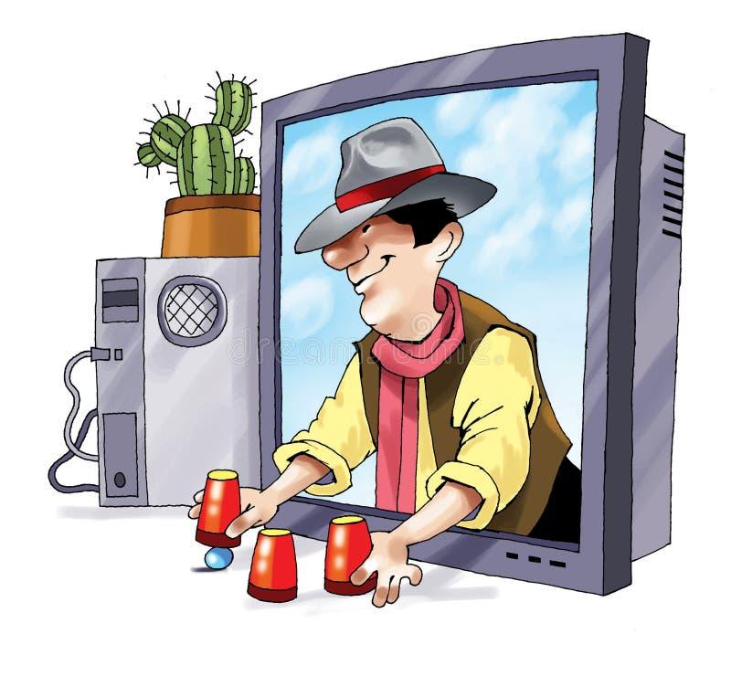 Dibujo de la historieta del monitor de computadora del fraude del phishing libre illustration