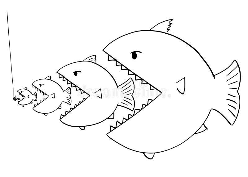 Dibujo de la historieta de la línea de pescados más grandes que comen pescados más pequeños stock de ilustración