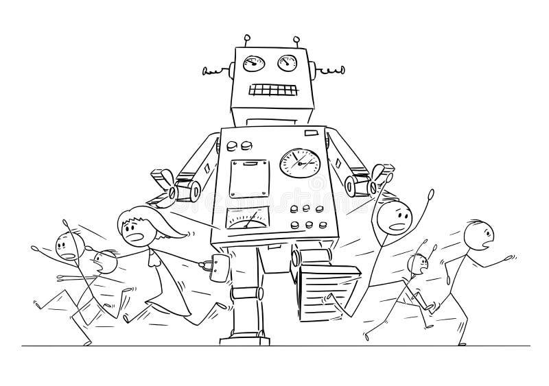 Dibujo de la historieta de la muchedumbre de gente que corre en pánico lejos del robot retro gigante stock de ilustración