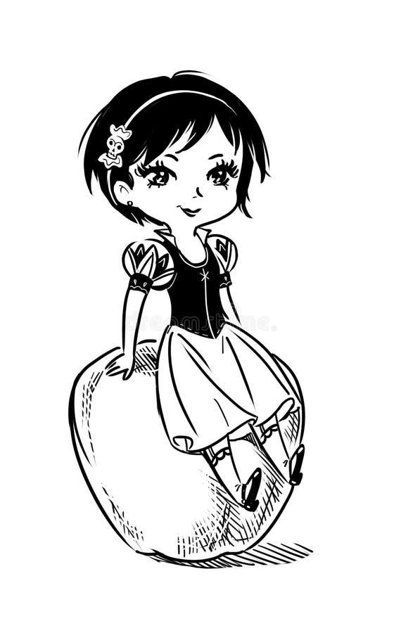 Dibujo de la historieta de una princesa bonita del cuento de hadas que se sienta en una manzana libre illustration