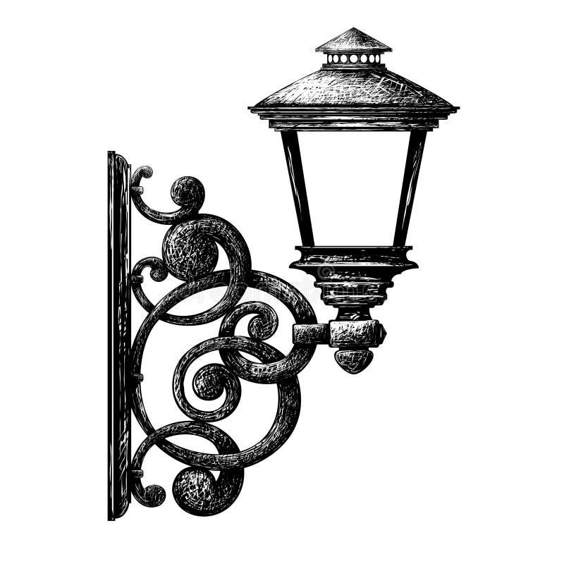 Dibujo de la luz de calle, farol, palmatoria stock de ilustración