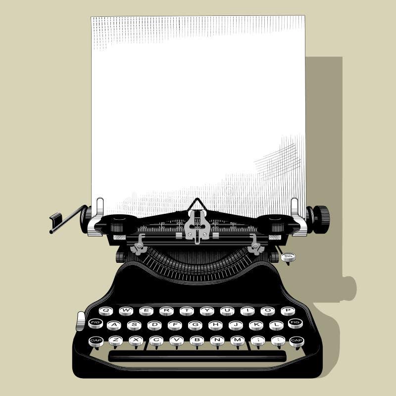 Dibujo de la máquina de escribir vieja con un papel en vintage blanco y negro stock de ilustración