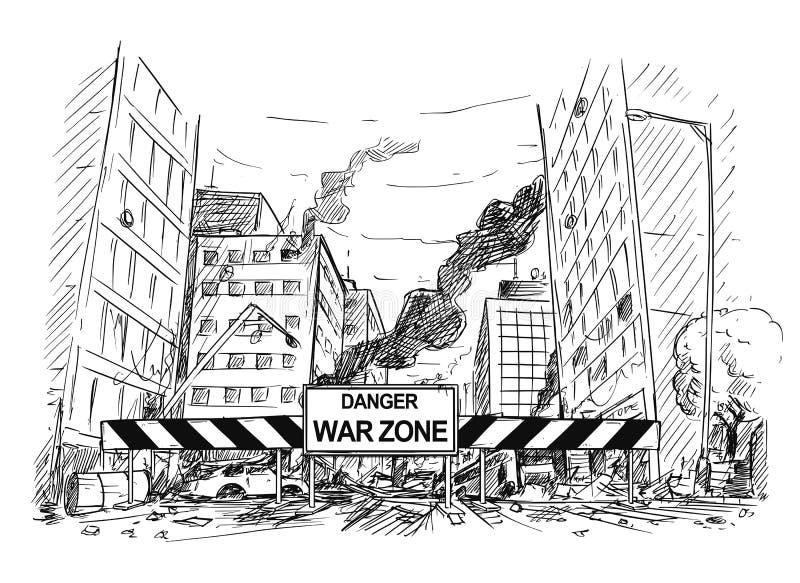Dibujo de la mano de la calle de la ciudad destruido por la guerra, camino bloqueado por la muestra de la zona de guerra stock de ilustración