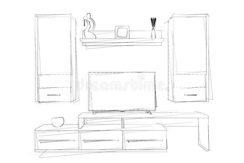 Dibujo de la mano de los bosquejos de la unidad de pared moderna de la sala de estar 3d rinden libre illustration