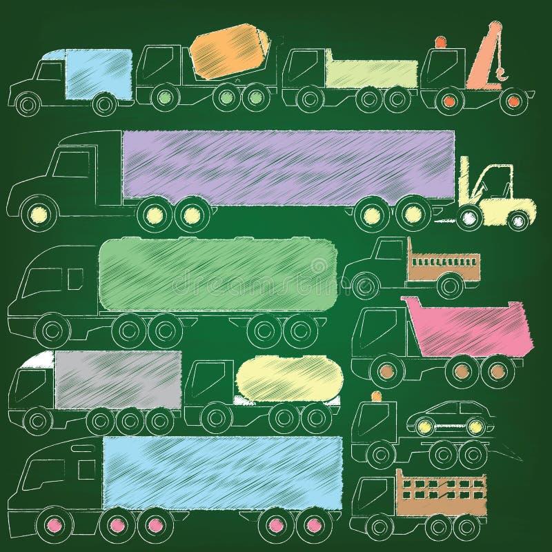 Dibujo de la mano de los iconos del camión del color por la tiza stock de ilustración